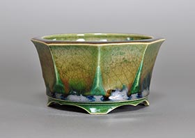 織部釉六角盆栽鉢・h3627 Oribe glaze bonsai pot