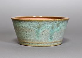 黄緑流紋釉丸盆栽鉢・h3645 Glaze yellow green rhyolite bonsai pot