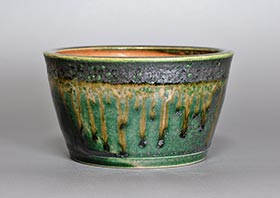 織部釉丸盆栽鉢・h3692 Oribe glaze bonsai pot