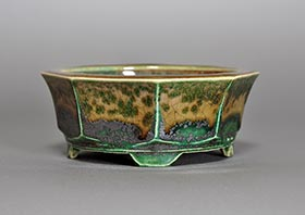 織部釉八角盆栽鉢・h3693 Oribe glaze bonsai pot